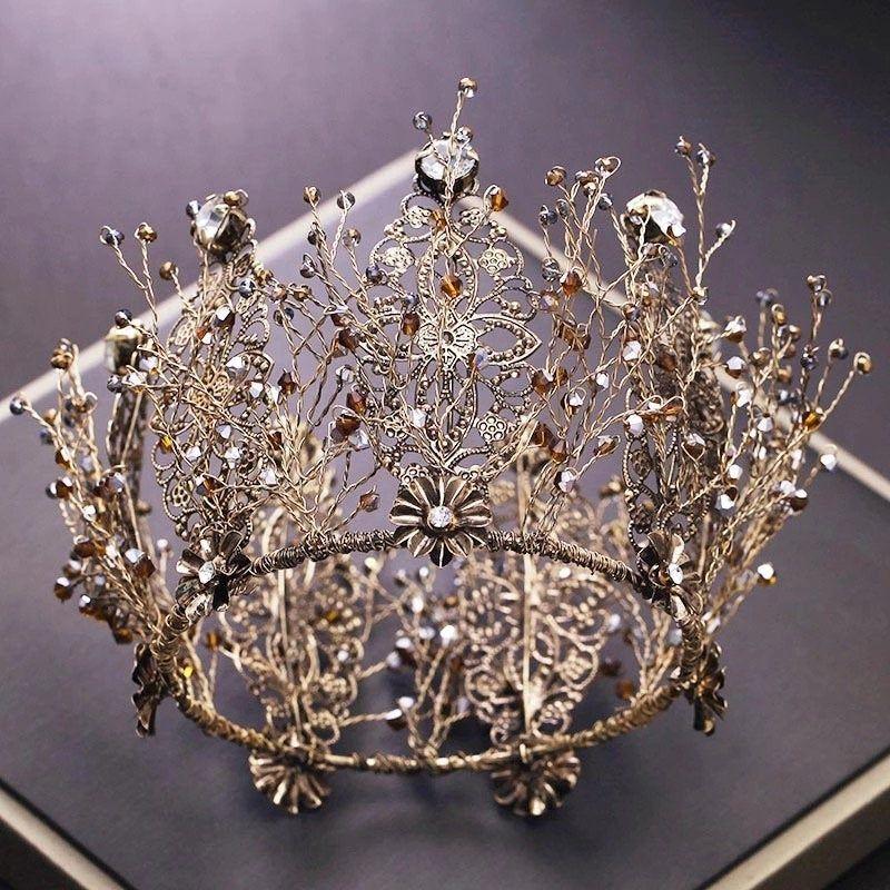 Black Wedding Hairstyles With Crown: Vintage Baroque Black Crystal Rhinestone Bridal Diadem