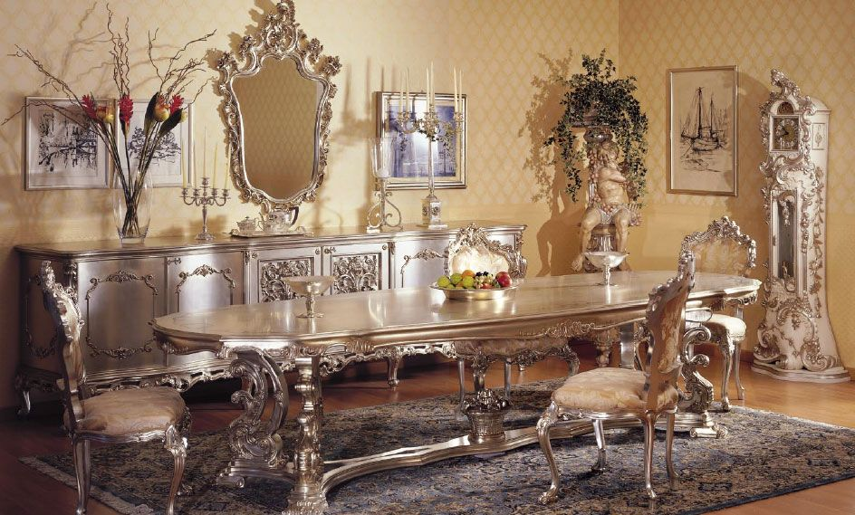 sharp design classic italian furniture in dining room. All together this is over the top but one of these pieces would be