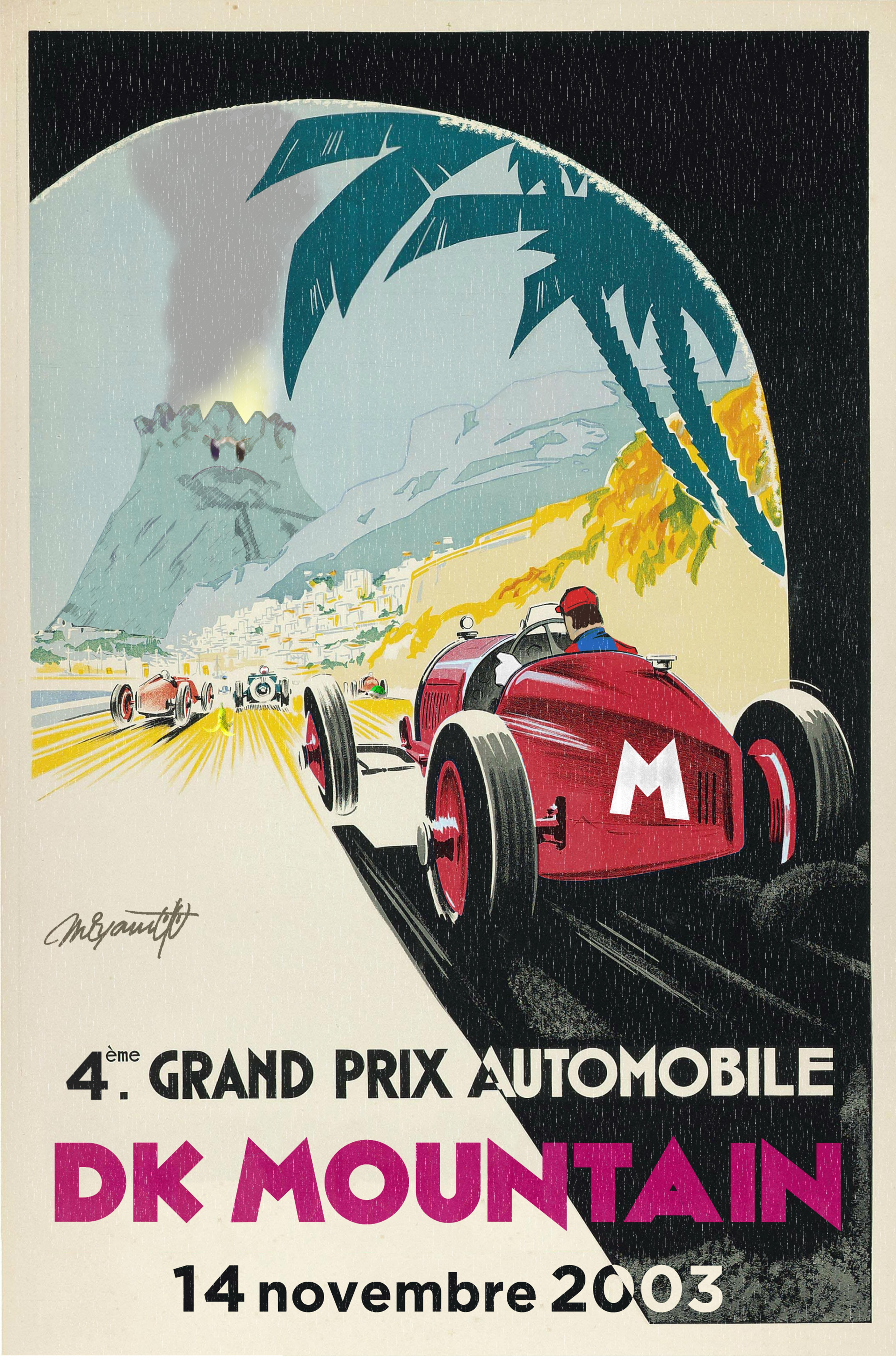 I Took An Old Monaco Racing Poster And Made It Mario Kart Themed Http Ift Tt 2ji9fun Vintage Racing Poster Grand Prix Posters Racing Posters