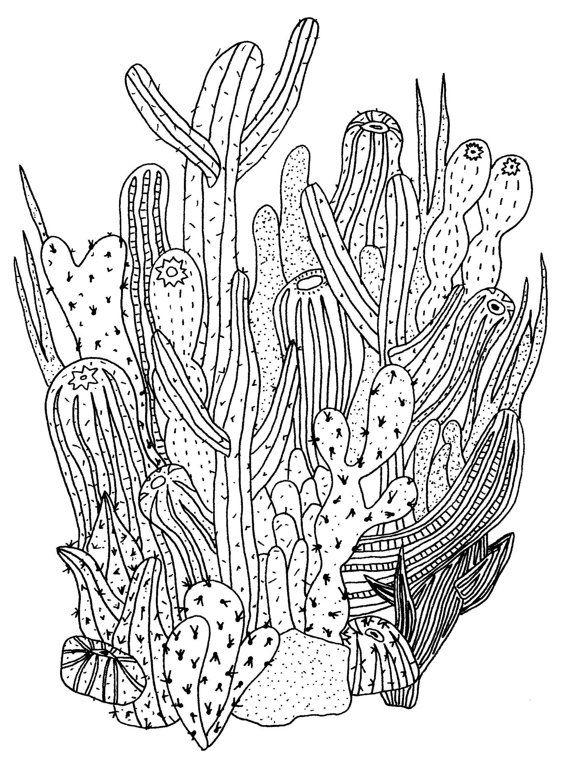 Impression de cactus par gospelofwonderland sur Etsy | dessins ...