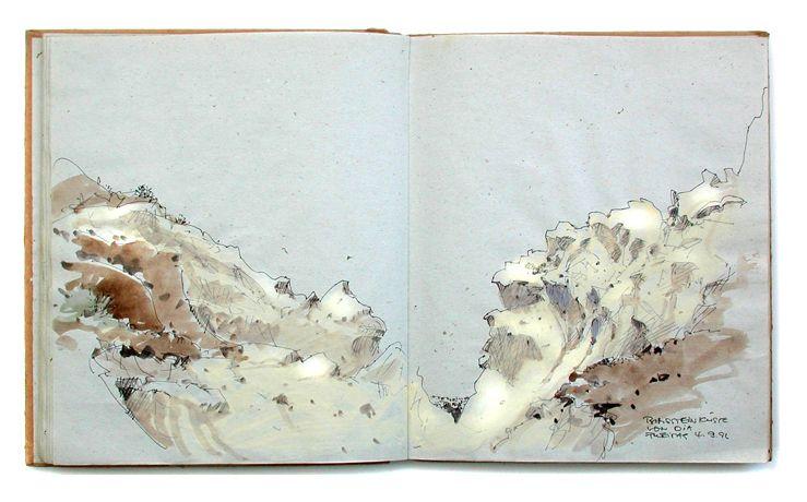 Cap de Ses Salines, sketchbook Mallorca 2010, roller ball pen               Roller ball pens: Advantages: Line does ...