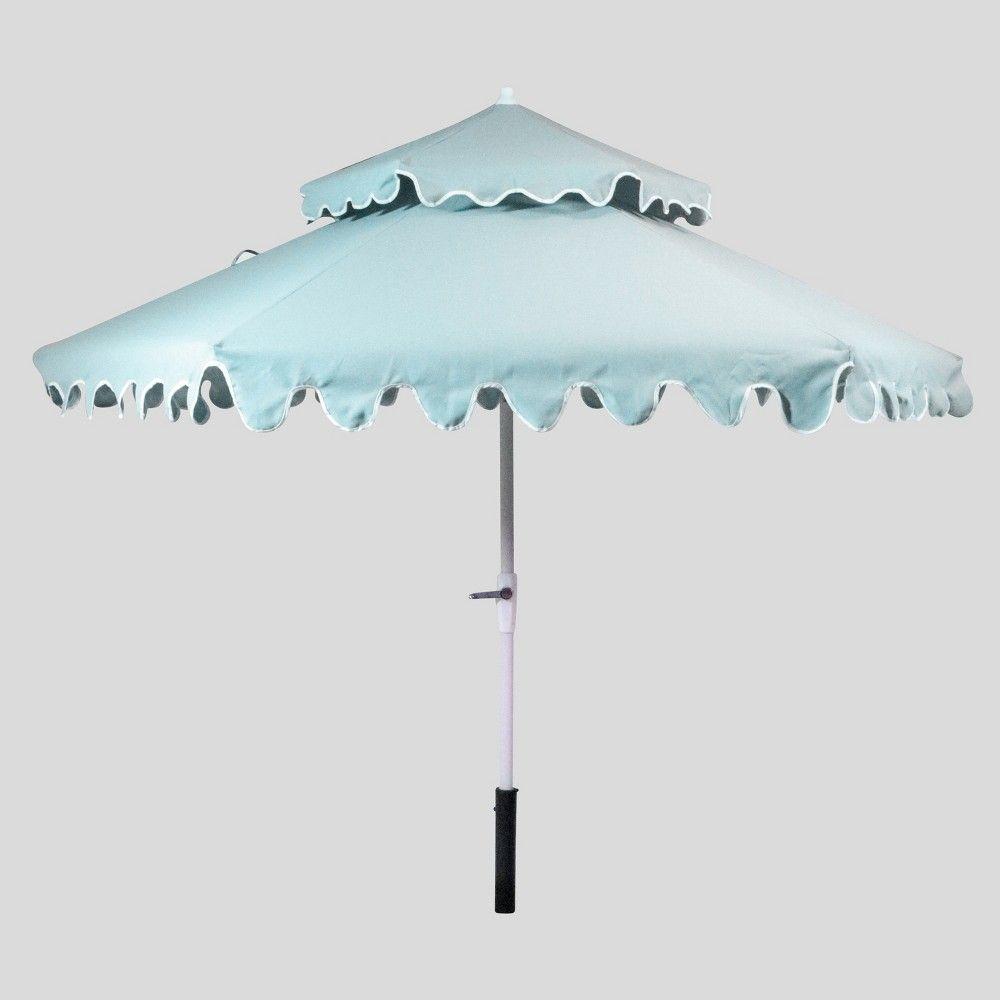 9 Tiered Scalloped Canopy Patio Umbrella Aqua White Pole Opalhouse Patio Umbrella Lights Patio Umbrella Stylish Patio Patio umbrella with white pole