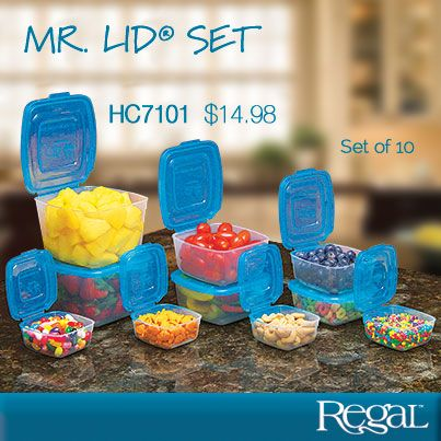 MR. LID (R) 10 PIECE SET from Regal Gifts Attached lids means you'll never have to dig through drawers for another lid! 10-piece system includes two 32 oz. containers, two 16 oz. containers, two 8 oz. containers and four 4 oz. containers. All have the patented attached lid and are freezer, microwave and dishwasher safe. Versatile set is great for food storage, office supplies, hardware parts, arts and crafts. Made in USA. Product Number: HC7101http://www.Regal.ca