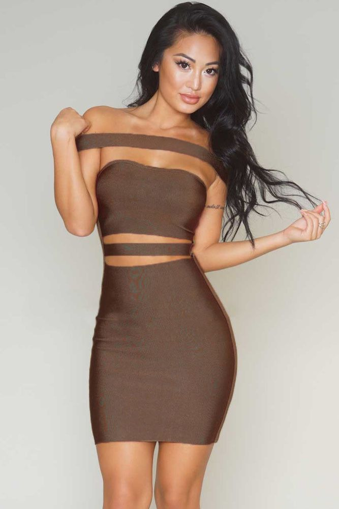 71262012c256 Coffee Off-shoulder Cut-out Bandage Dress