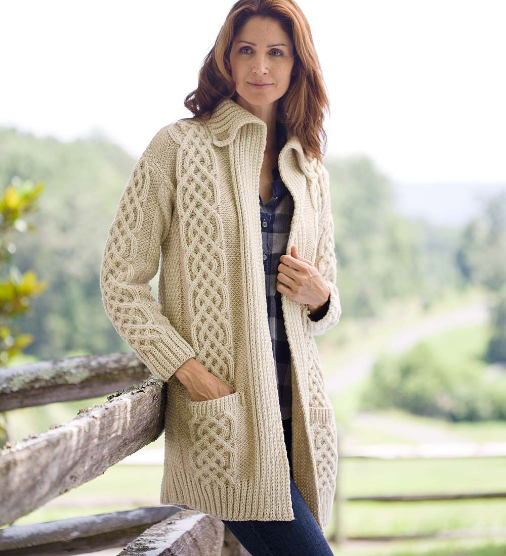 Women's Irish Long Cardigan in Merino Wool | Sweaters | Gifts for ...