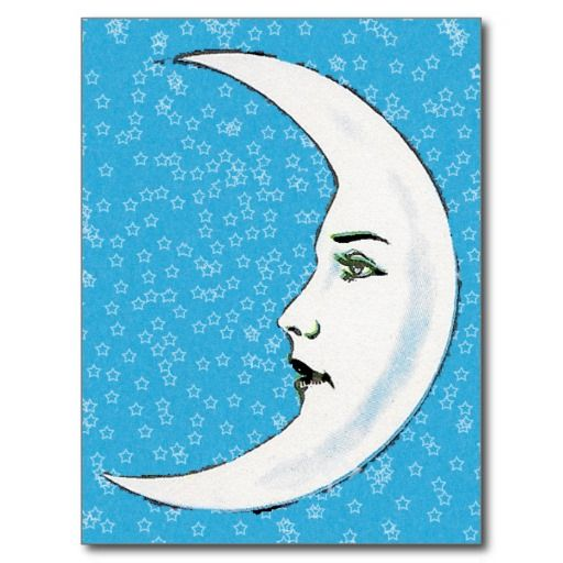 Half Crescent Moon With Face Tattoo: Vintage Crescent Moon Face - Google Search