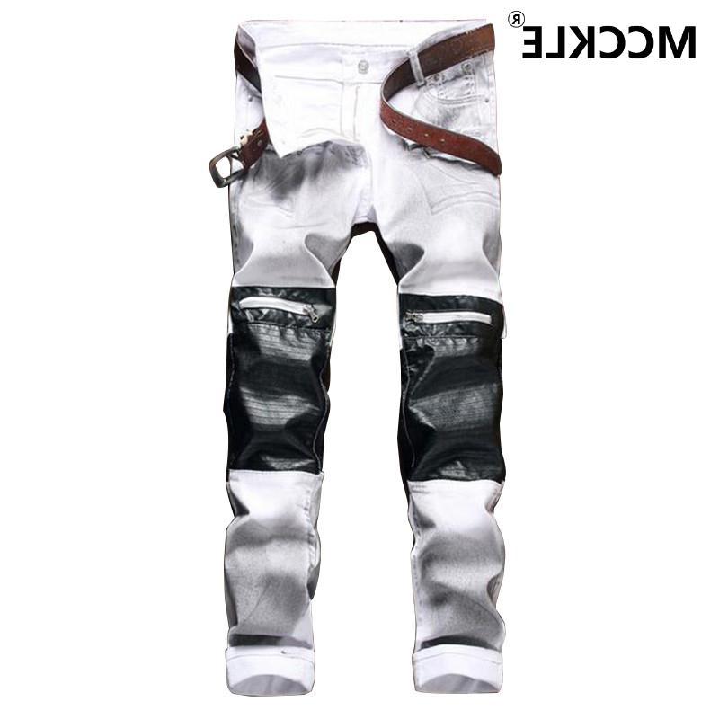28.67$  Buy now - https://alitems.com/g/1e8d114494b01f4c715516525dc3e8/?i=5&ulp=https%3A%2F%2Fwww.aliexpress.com%2Fitem%2FFamous-Brand-Designer-Mens-Biker-Denim-Jeans-Leather-Patchwork-Vintage-Denim-Joggers-Man-Multi-Zipper-Slim%2F32676245752.html - Famous Brand Designer Mens Biker Denim Jeans Leather Patchwork Vintage Denim Joggers Man Multi Zipper Slim Fit Moto Jeans Pants