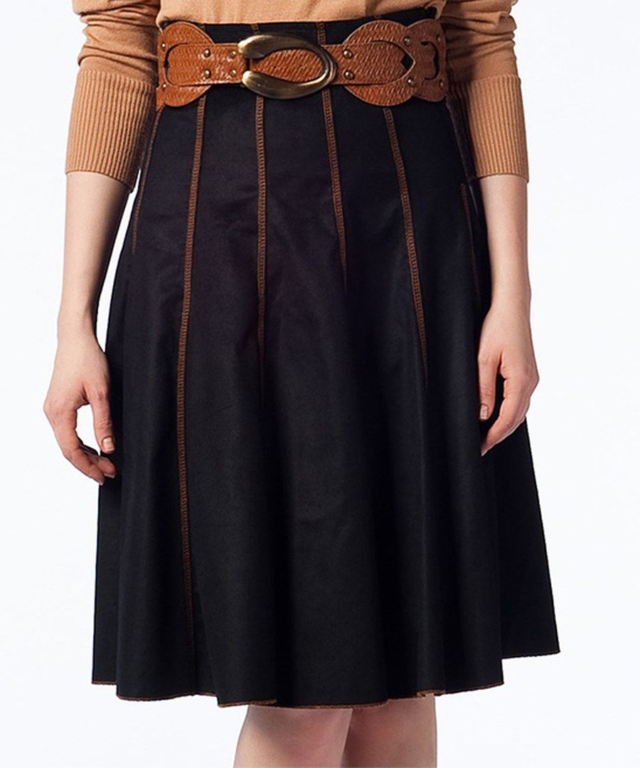 Look at this duse black u cognacseam skirt on zulily today