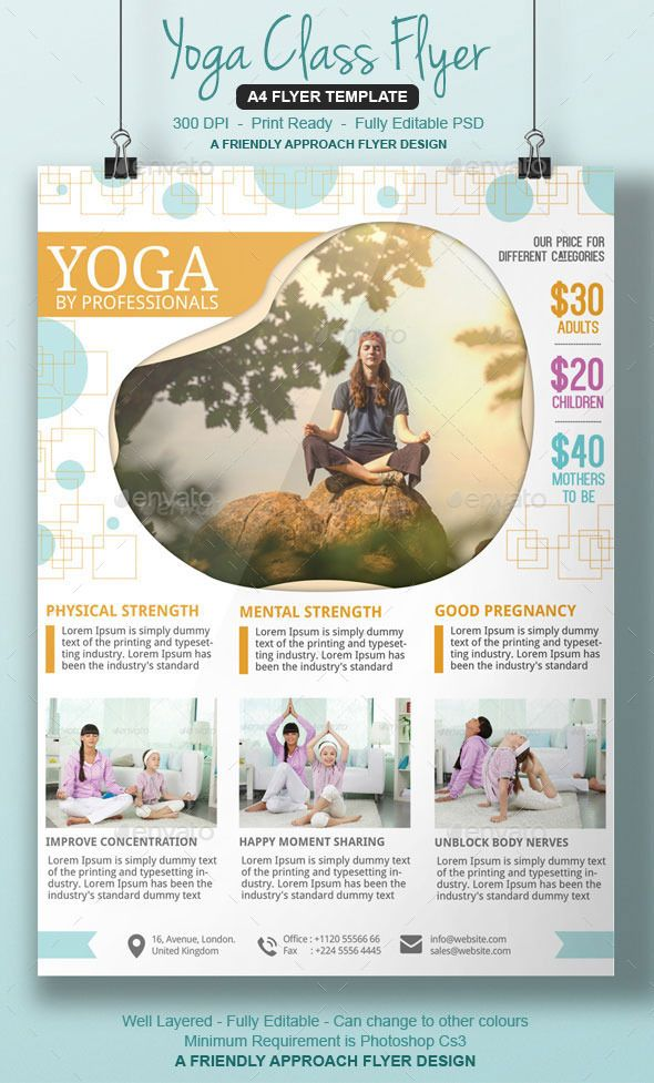 Yoga Studio Flyer Yoga, Studio and Flyer template - harmony flyer template