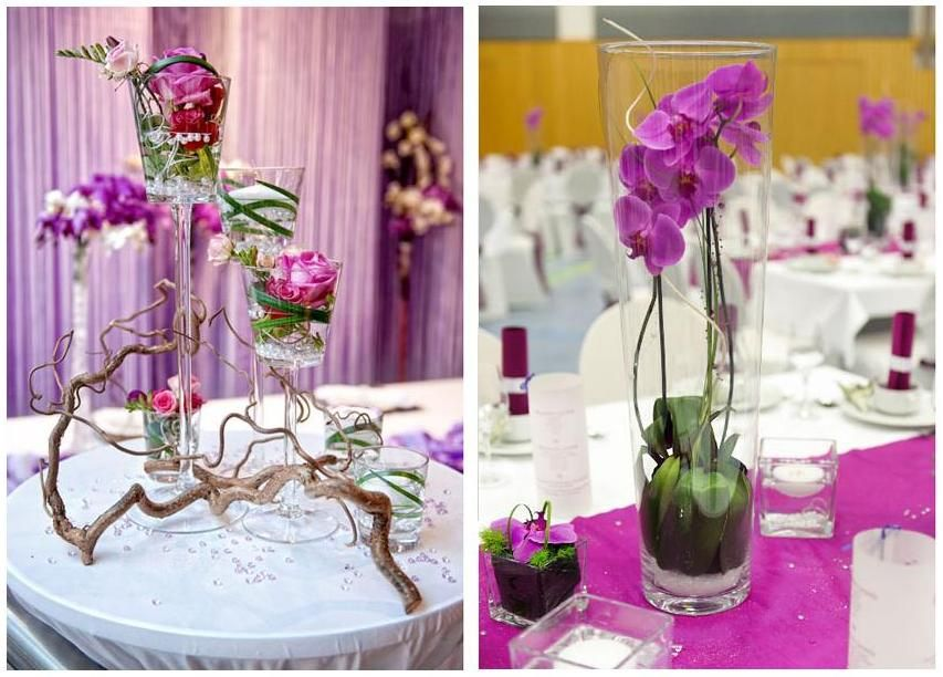 Hochzeitsdeko mit Lila Rosen und Orchideen im Glas