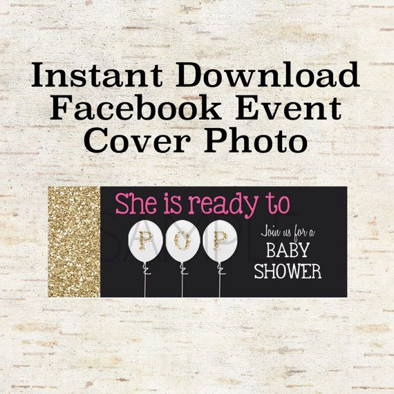 Instant Download Facebook Event Cover Photo For A Baby Shower Party Invitation Evite With G Baby Shower Party Invitations Facebook Event Bbq Party Invitations