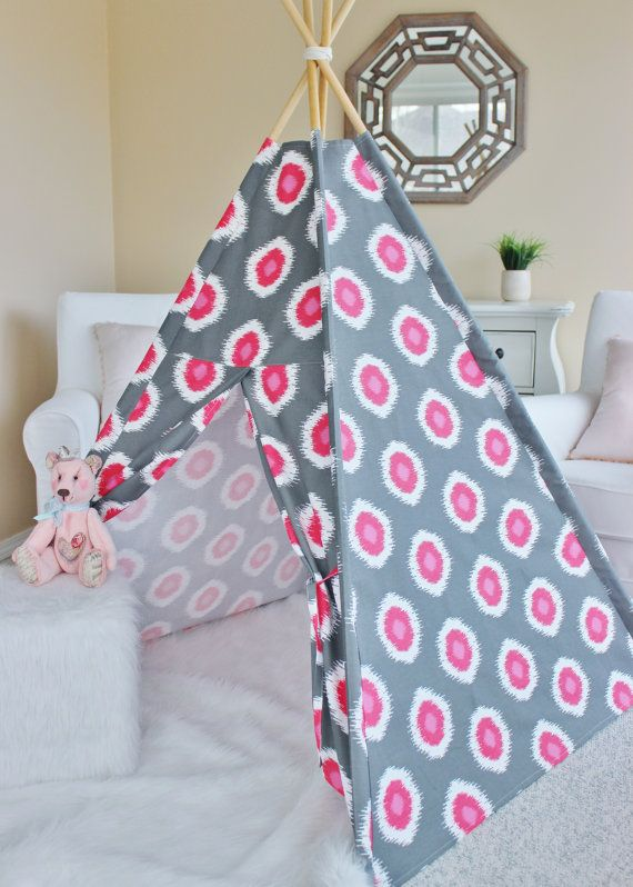 Grey and Pink Ikat Dot Fabric Play Tent Teepee Playhouse - NO POLES & Ready to ship! Grey and Pink Ikat Dot Fabric Play Tent Teepee ...
