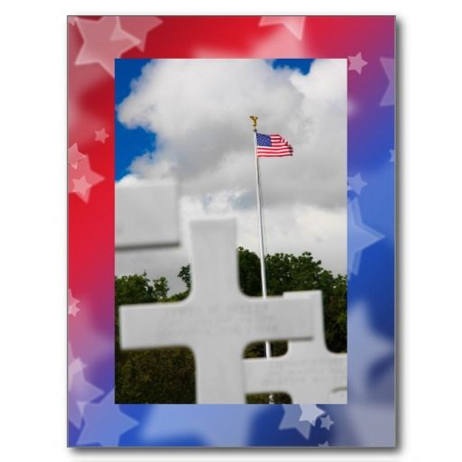 Patriotic Stars Postcard: Soldier's grave over a field of red & blue stars for Memorial Day $1.00