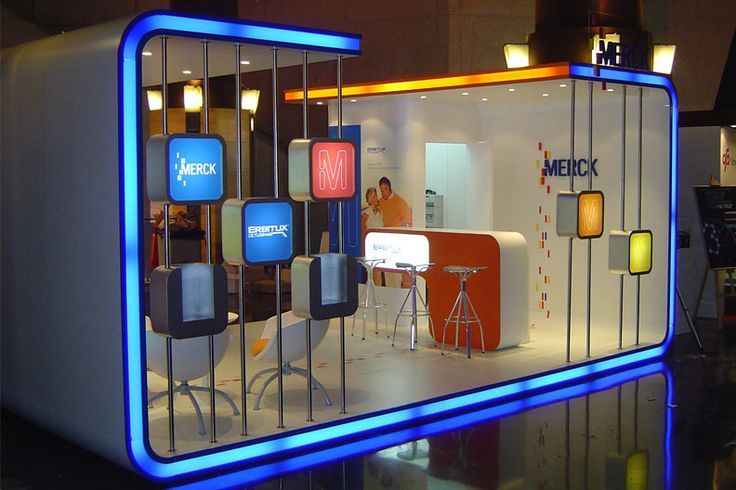 Exhibition Stand Elements : This merck display combines a lot of great elements in