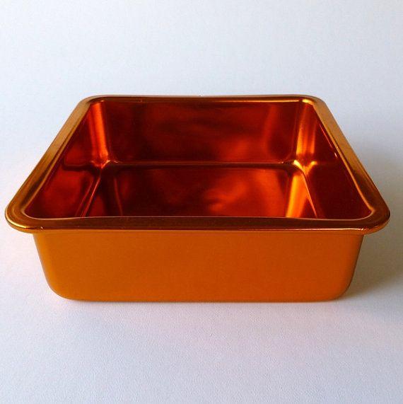 Vintage Anodised Aluminium Square Cake Tin Shiny By Eclecticmoi 14 50 Square Cakes Cake Tins Aluminium Kitchen