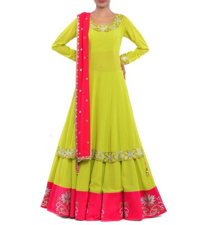 Lime Yellow & Pink Rhinestone Embellished Georgette Lehenga Set #indianroots #ethnicwear #lehengaset #georgette #embellished # summerwear #occasionwear #eveningwear