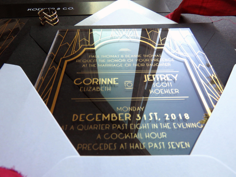 Gatsby Acrylic Invitations Acrylic Invites Clear