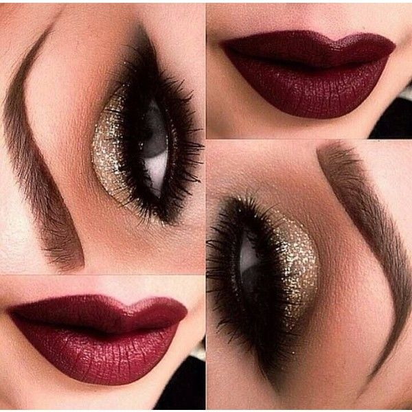 Calido Makeup ❤ liked on Polyvore featuring beauty products, makeup, eyes, lips, red lip makeup, evening makeup, holiday makeup, gold cosmetics and red makeup