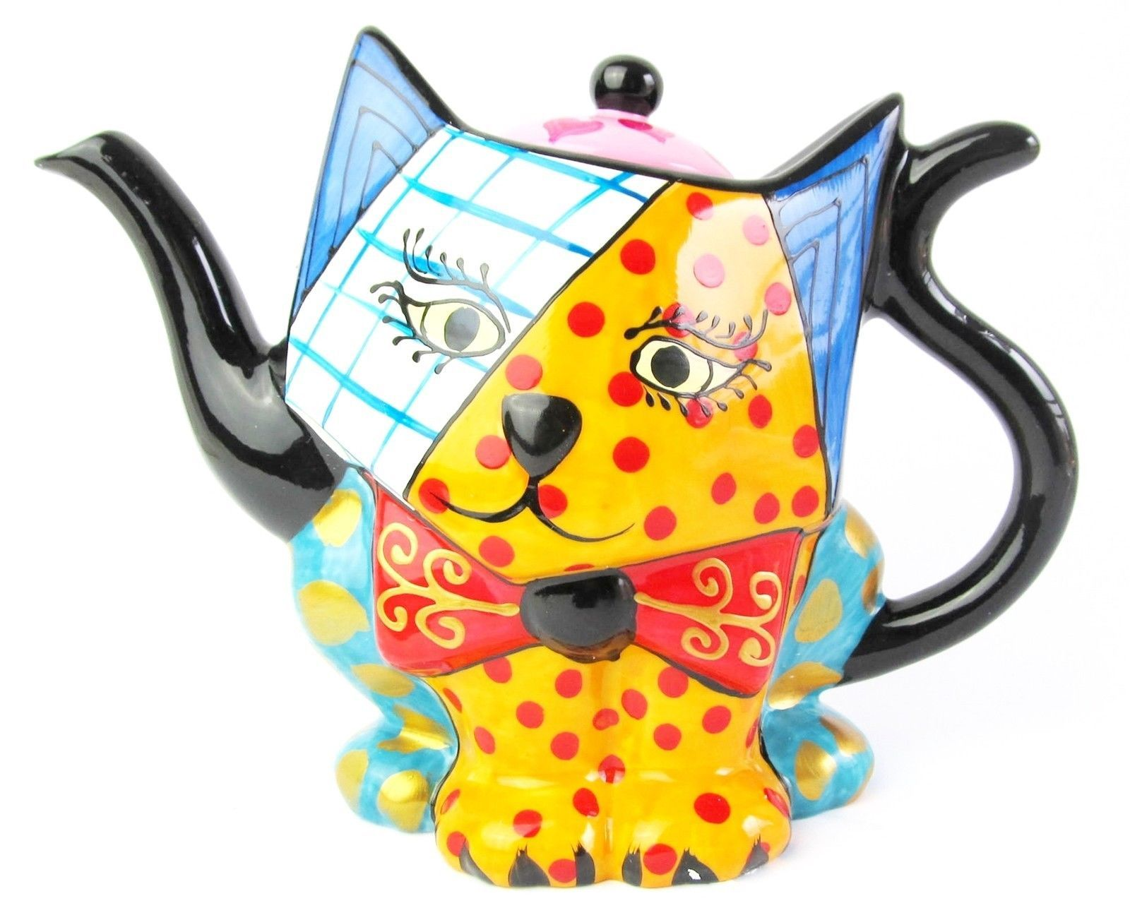 Cat Teapot - Ceramic, Hand Painted -Multi Coloured - Spots & Stripes- Boxed | eBay