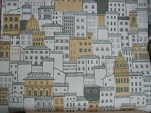 Vintage 1950s retro wallpaper Crown - buildings skyline architectural | eBay