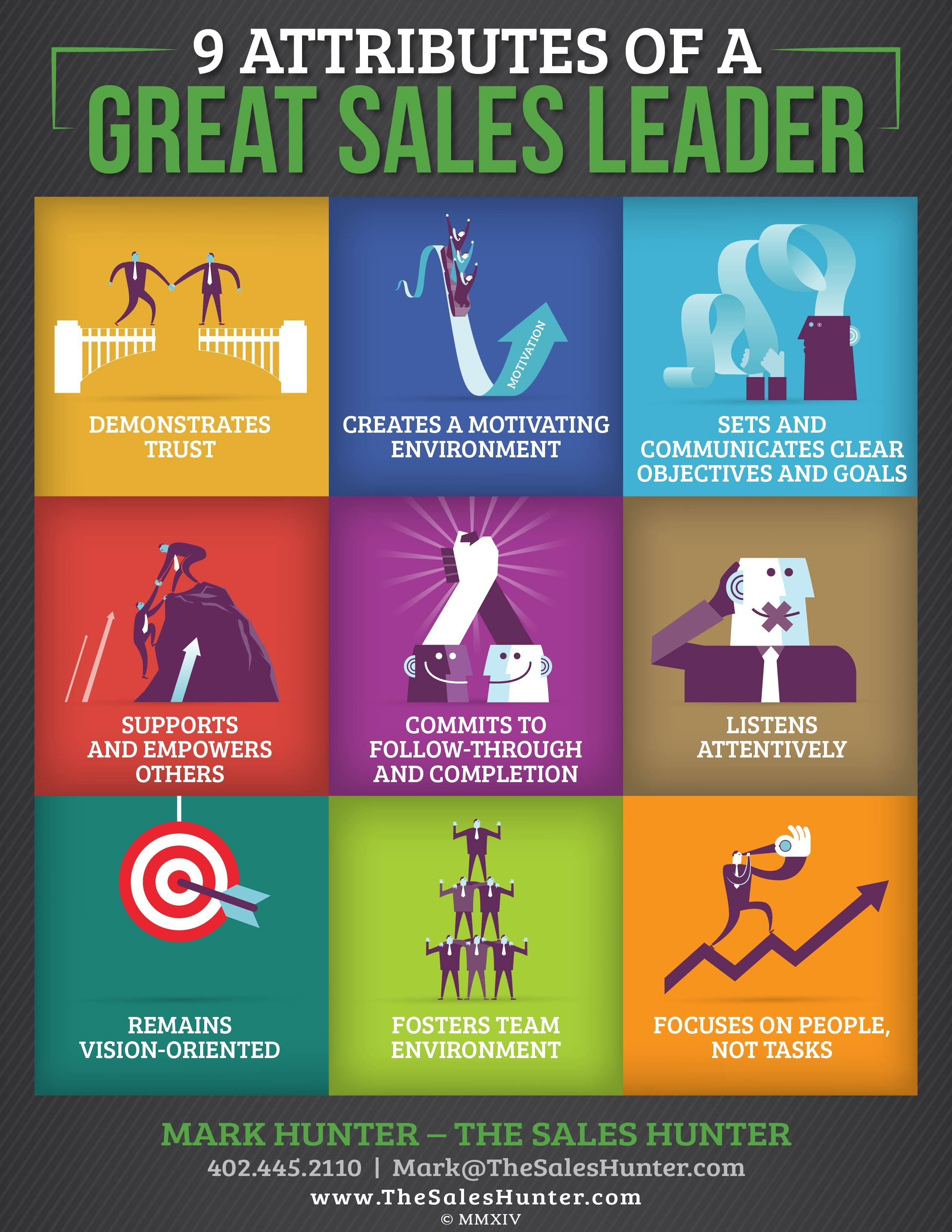 9 Attributes Of A Great Sales Leader Infographic Attributes Business Infographic