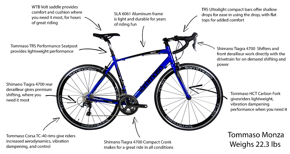 Tommaso Monza Tiagra Equipped Lightweight Aluminum Road Bike