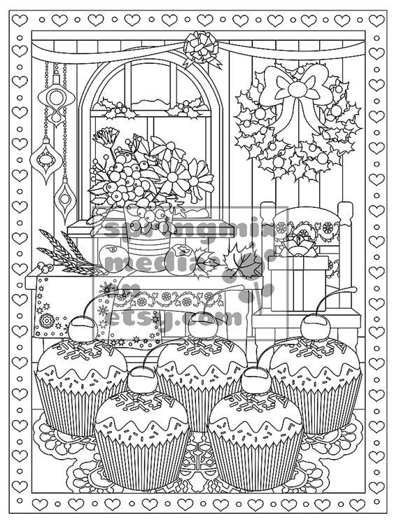 Christmas Coloring Page Christmas Treats Holiday Coloring Etsy Holiday Coloring Book Coloring Books Christmas Coloring Pages