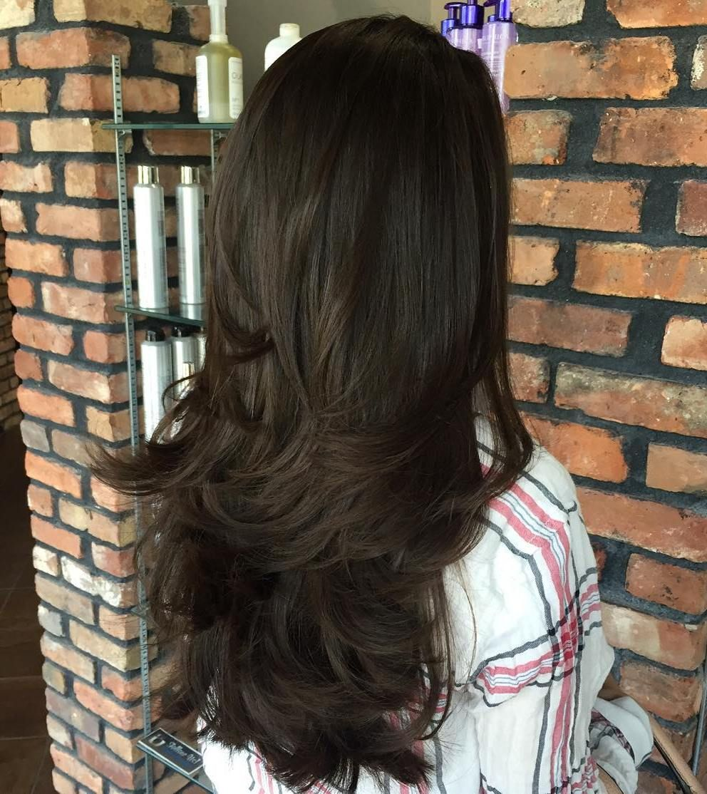 cute layered hairstyles and cuts for long hair brunette