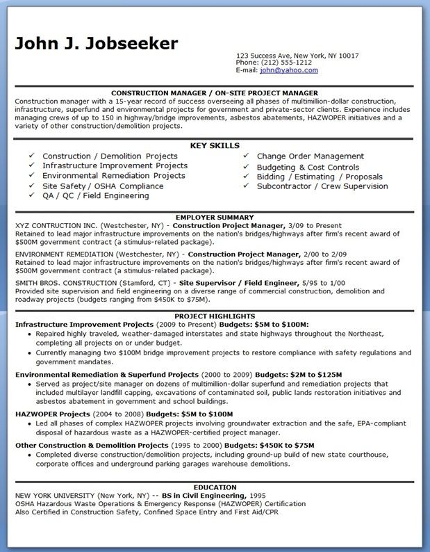 Construction Manager Resume PDF – Construction Management Job Description