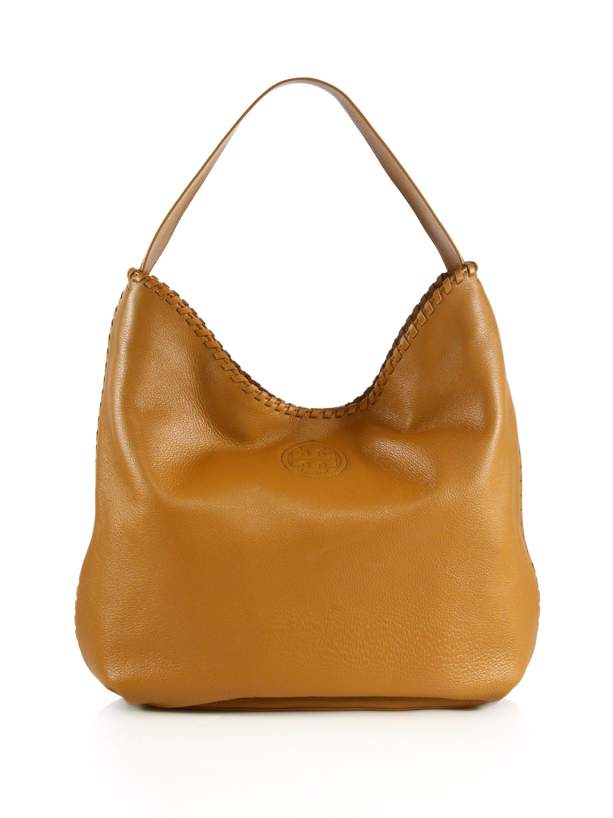 bdcf5b5cf282 Tory burch Marion Whipstitched Leather Hobo Bag in Brown (bark ...