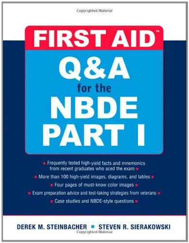 First Aid Q&A for the NBDE Part I (First Aid Series) (Pt. 1) -                     Price: $  40.98             View Available Formats (Prices May Vary)        Buy It Now      Hundreds and hundreds of questions and answers to help you ace the NBDE Part I! No other resource gives you the practice questions you need to prepare for the NBDE Part I like...