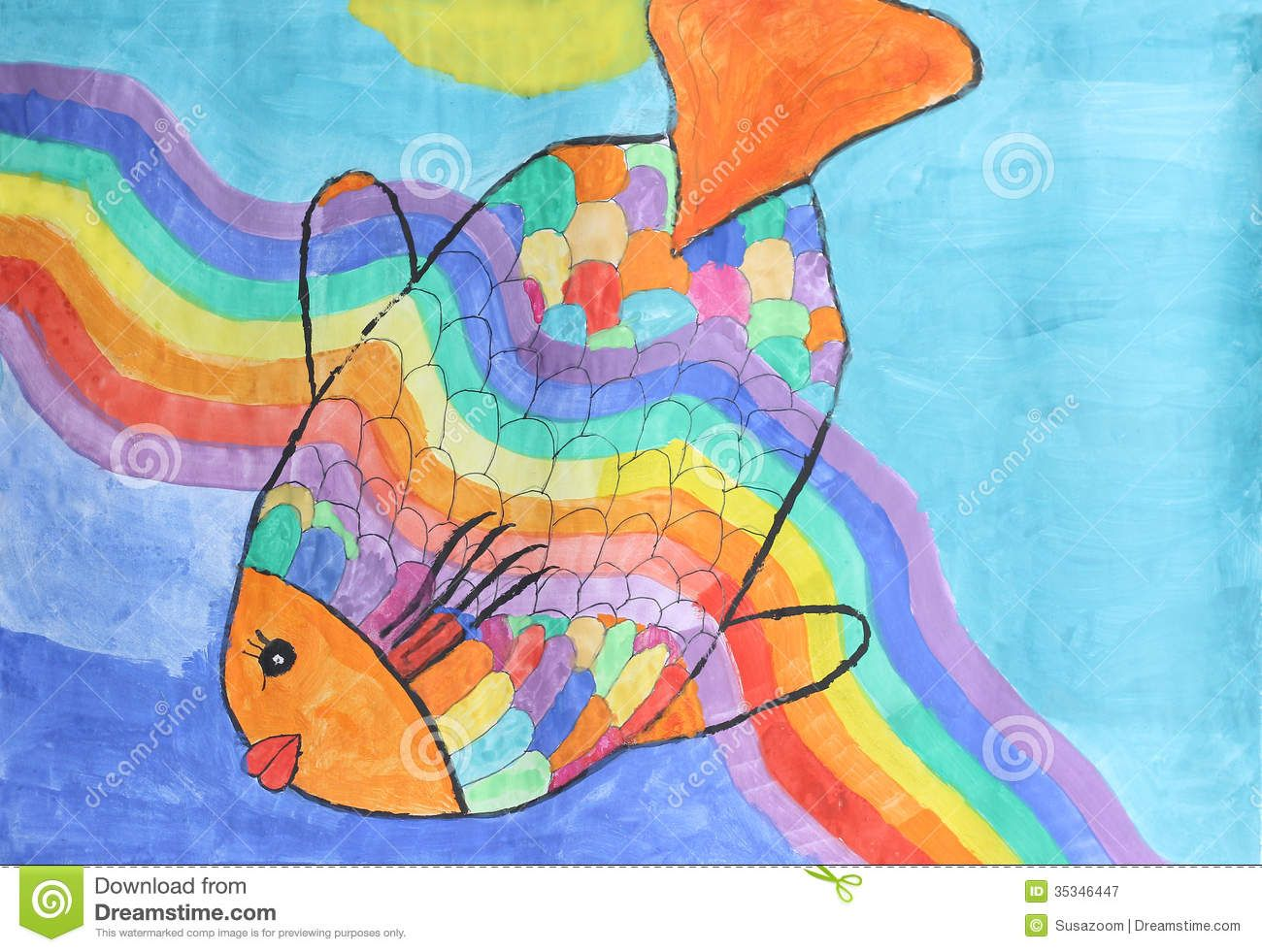 Beautiful Rainbow Fish Children Watercolor Painting Royalty Free