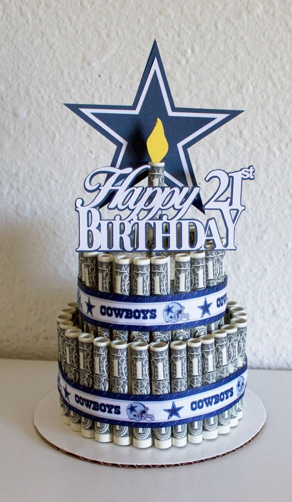 Astounding Money Cake Happy Birthday Dallas Cowboys By Newecreativegifts Birthday Cards Printable Benkemecafe Filternl