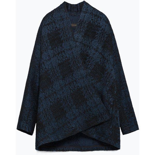 Zara Kimono Style Blazer (€37) ❤ liked on Polyvore featuring outerwear, jackets, blazers, petrol blue, blue kimono, kimono jacket, zara jacket, zara blazer and zara kimono