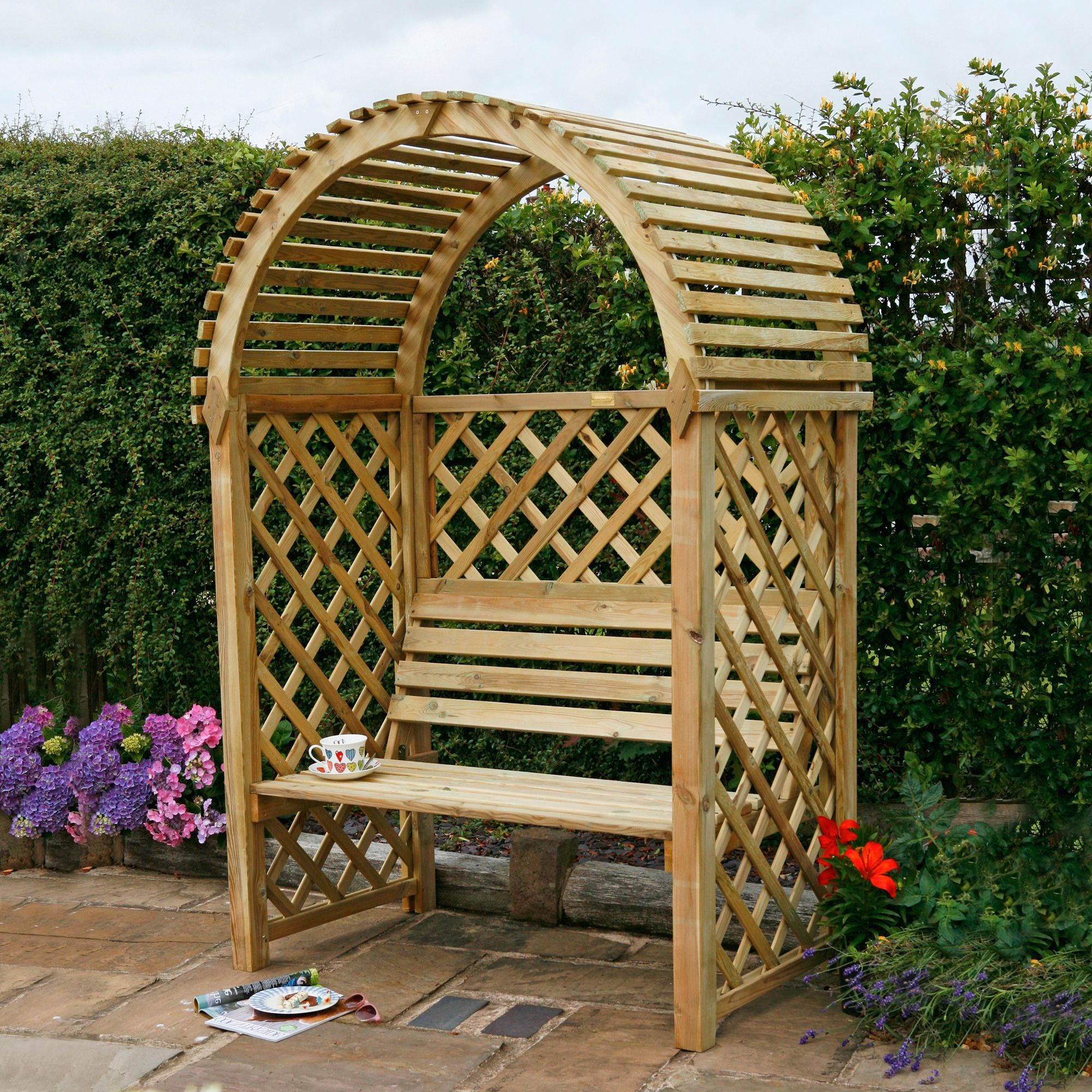 Chiltern Wooden Round Top Arbour Departments Diy At B Q