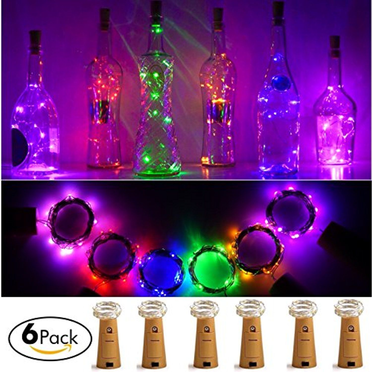 6 Pack Bottle Cork Lights 15 Led Wine Bottle Battery