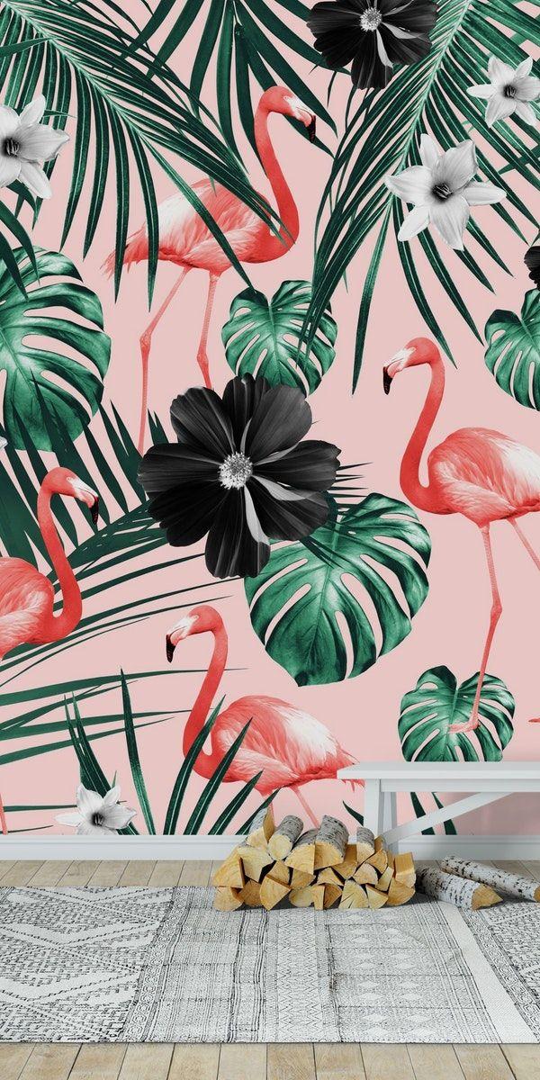 Tropical Flamingo Flower 4 Wall mural in 2020 Flamingo