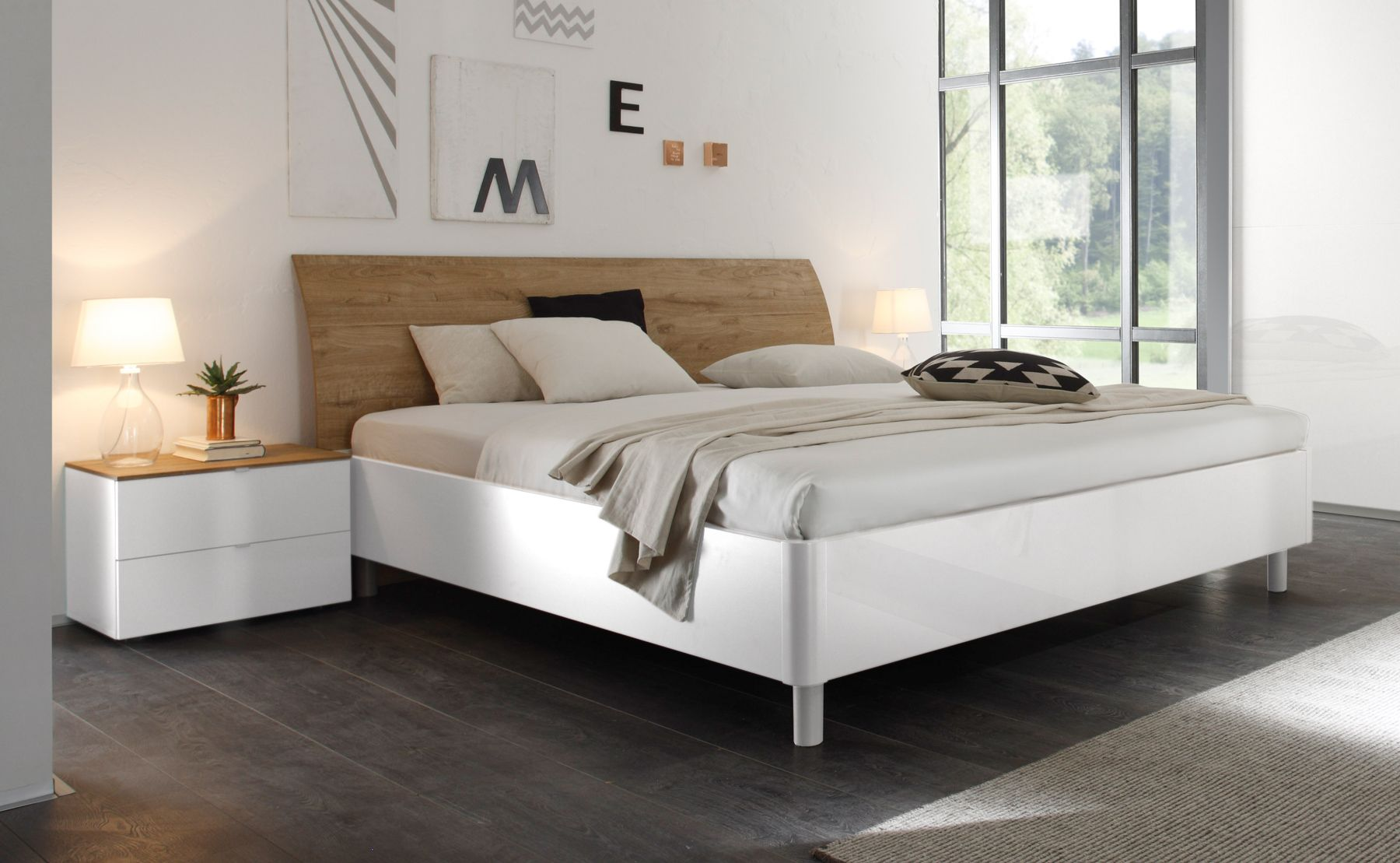 doppelbett bett 180 x 200 cm weiss hochglanz lack eiche. Black Bedroom Furniture Sets. Home Design Ideas