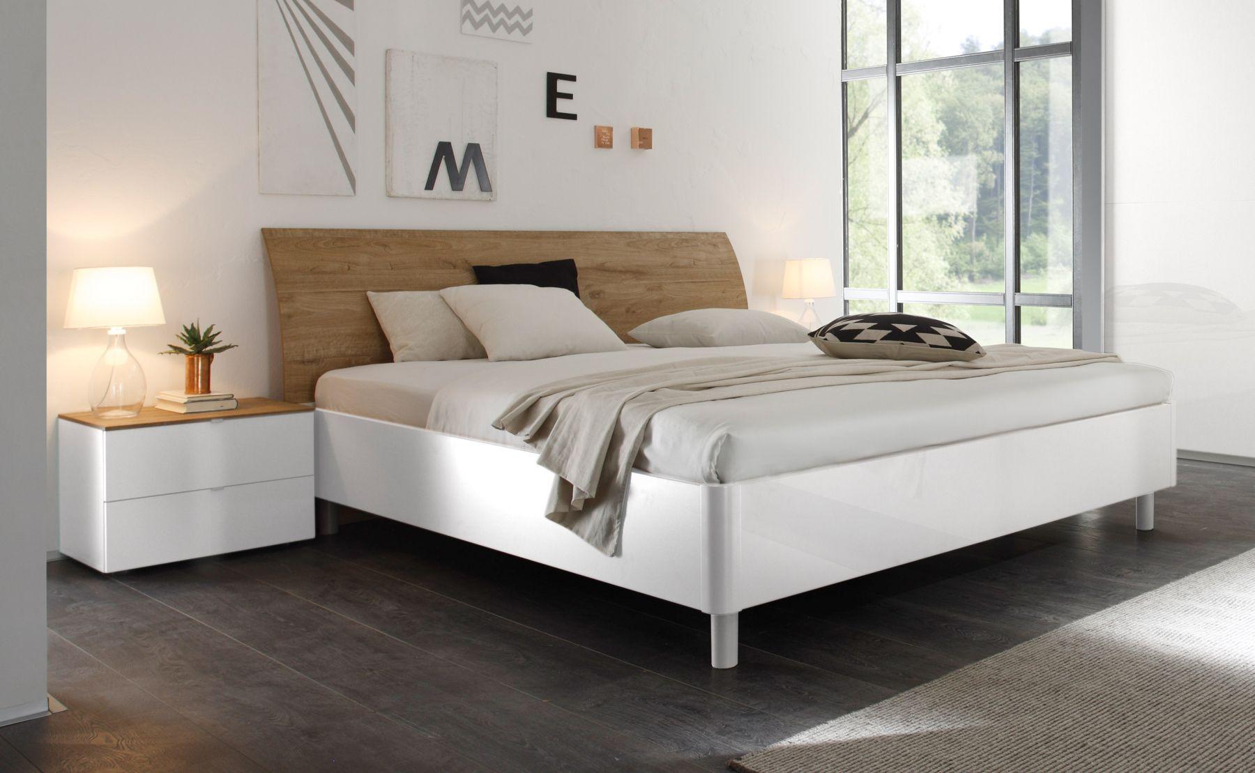 Doppelbett Bett 180 X 200 Cm Weiss Hochglanz Lack Eiche Natur Tambio28 Modernes Möbeldesign Bett 180x200 Haus Deko