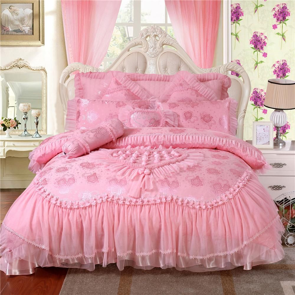 Luxurious Bedding Sets,100% Silk Satin Embroidery,Silk/Cotton Wedding  Bedding Romantic Princess Pink/Red Heart Lace Bedding Set Duvet Cover Blue  And White ...
