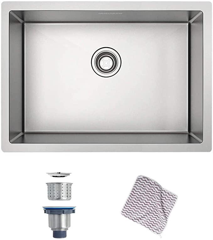 Menseajor Undermount Sink 27 X 18 Single Bowl Kitchen Sink Undermount Stainless Steel Kitchen Sink Bar Or Prep Kitchen Sink Amazon Com Lawrence