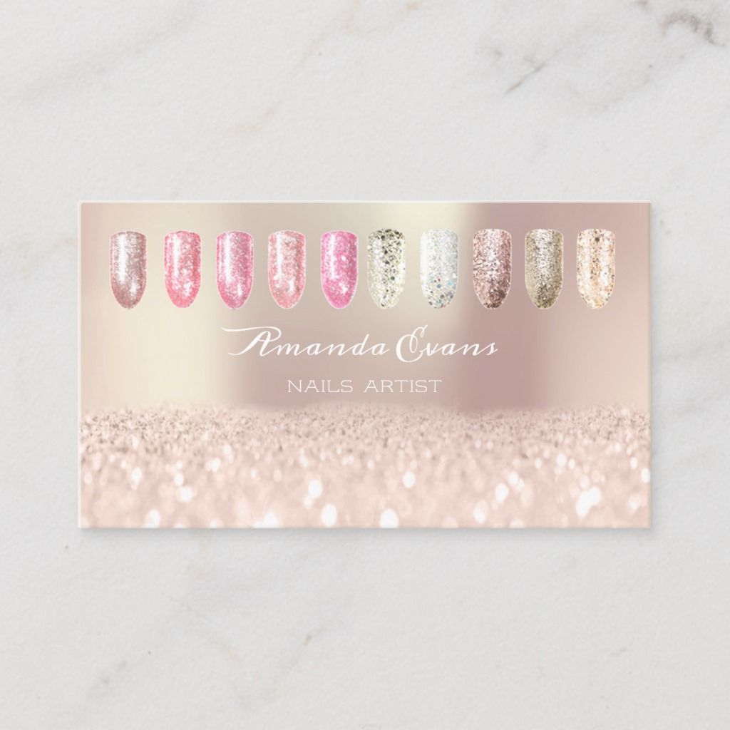 Spark Glitter Rose Gold Nails Artist Appointment1 Appointment Card