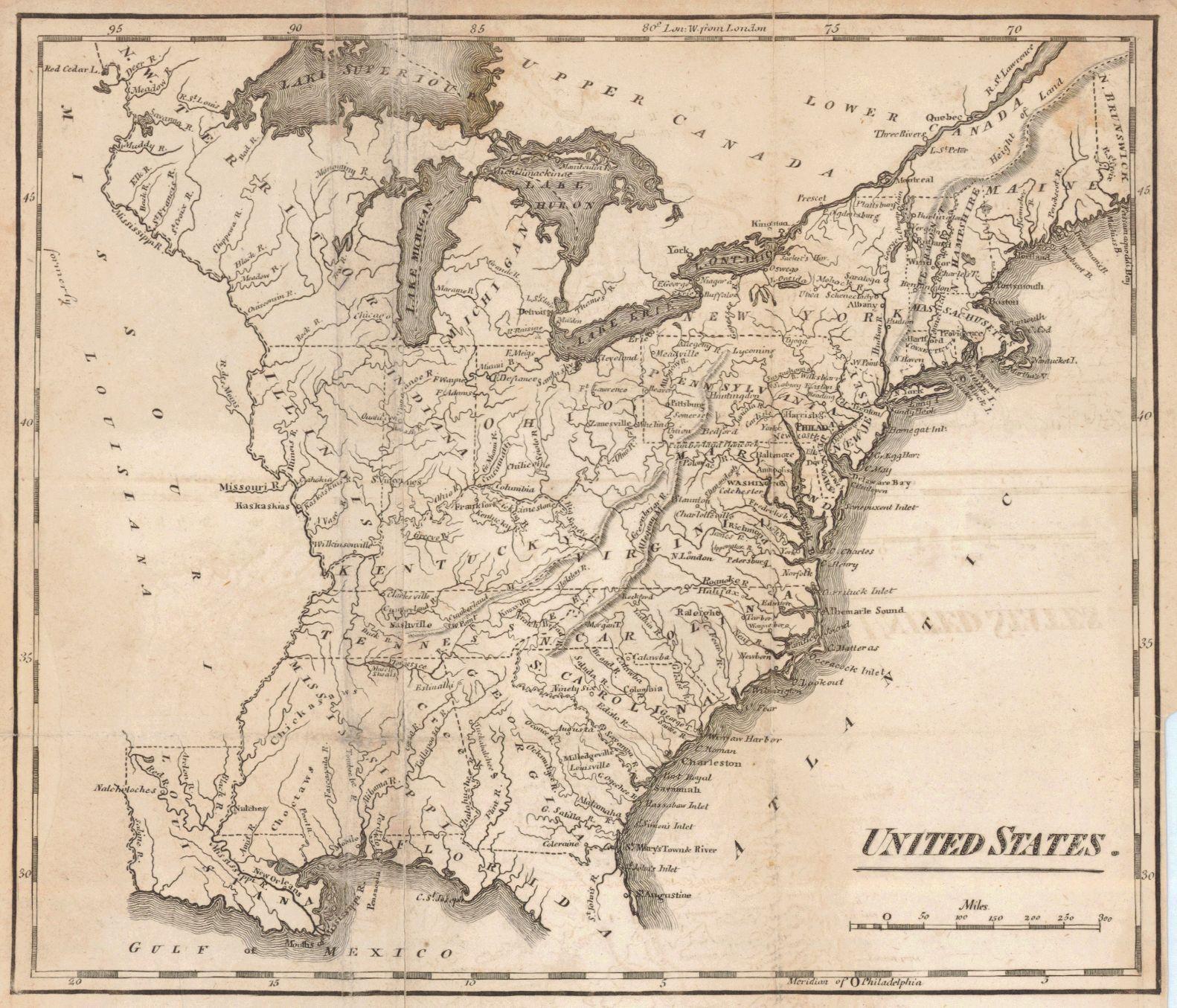 United States Mathew Carey Published Philadelphia - 1814 us map