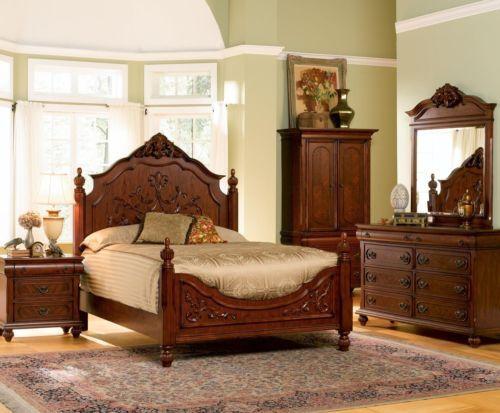 isabella antique old world carved oak wood poster queen king master bedroom bed ebay