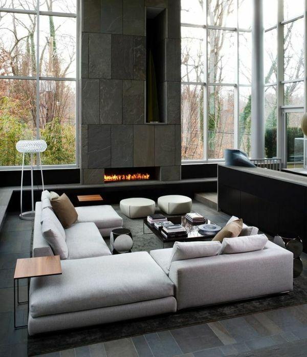 Moderne Wohnzimmermöbel wohnlandschaft fenster Wohnen - schiefer fliesen wohnzimmer