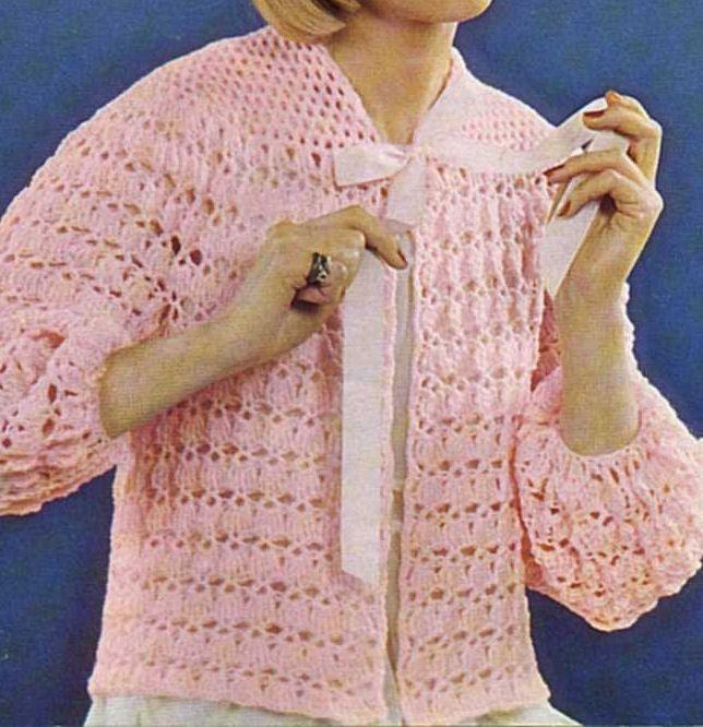 Free Crochet Bed Jacket Pattern Crochet Pinterest Crochet