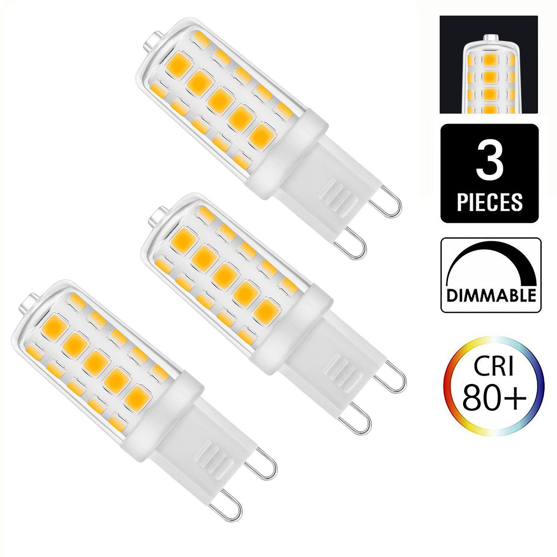 Unilamp G9 LED Light Bulbs, 5W (40W Halogen Equivalent), 450LM, Warm ...