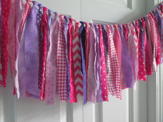Pink-Purple Fabric Bunting ~Girls Nursery Decor ~Rag tie Garland ~Birthday Banner ~Photography Prop ~Fabric Garland ~Smash Cake ~Princess
