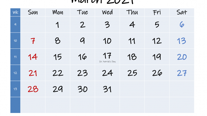 March 2021 Calendar In Pdf Word Excel Printable Template In 2020 2021 Calendar Calendar Holiday Calendar