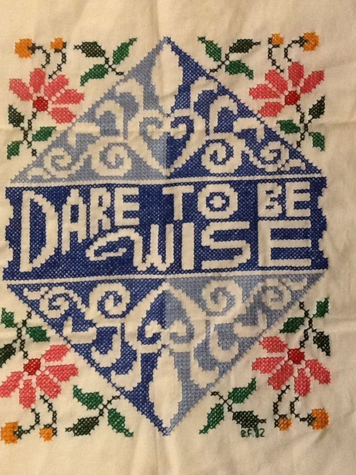 "Completed Cross Stitch Dare to be Wise 14.5"" x 17"" Vintage Erica Wilson 1973"